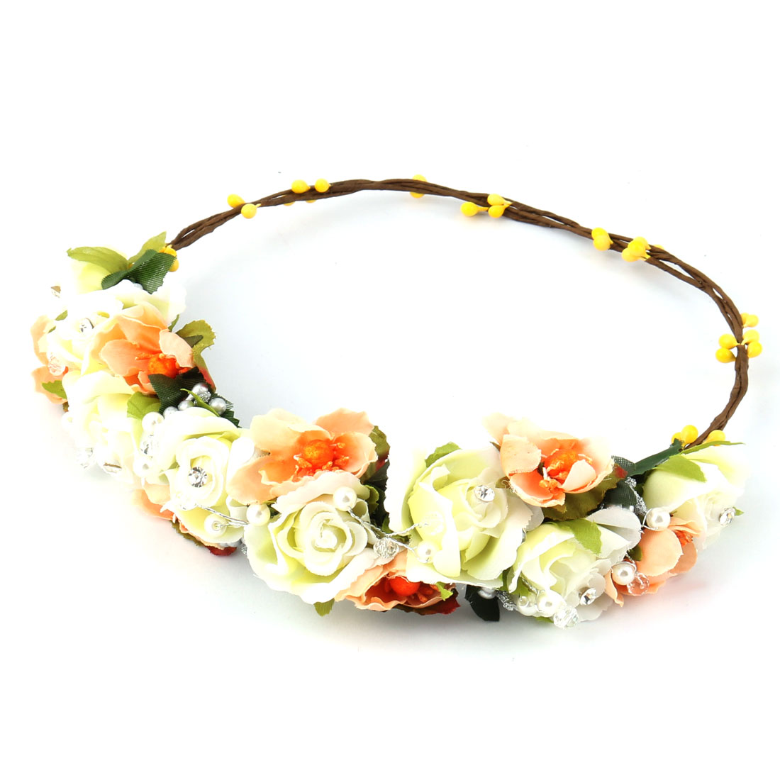 Garland Wedding Cloth Handmade Floral Crown Hair Wreath Headband Orange White