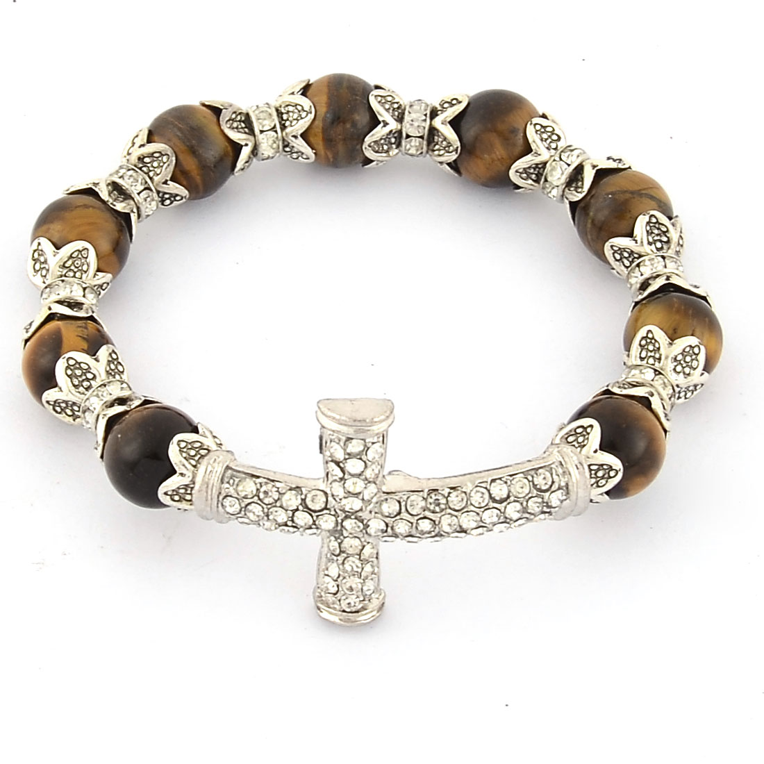 Women Decor Alloy Stone Flashed Hand Beaded Cross Bangle Bracelet Chain