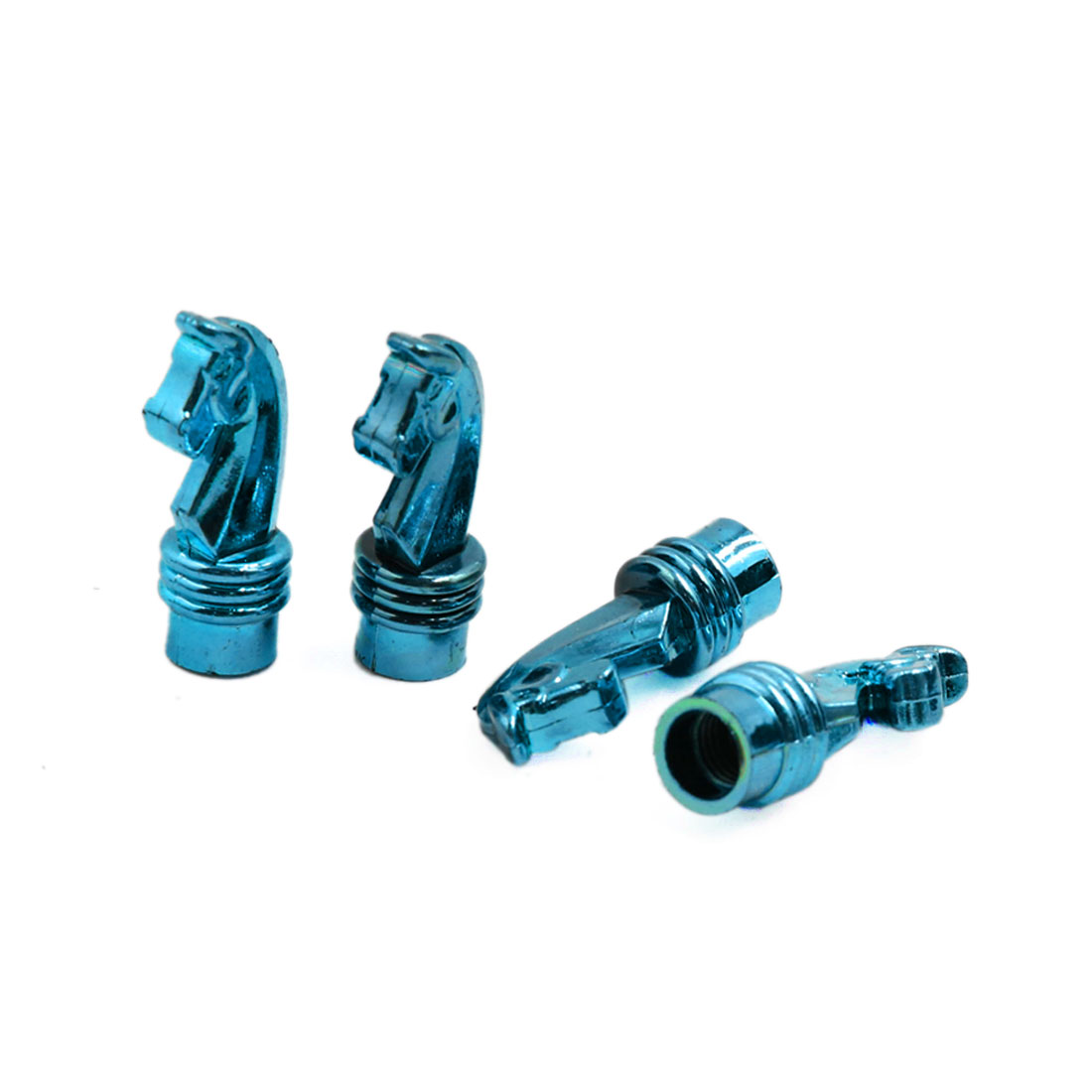 4 Pcs Blue Car Sea Horse Head Shape Tire Tyre Valve Air Caps Covers