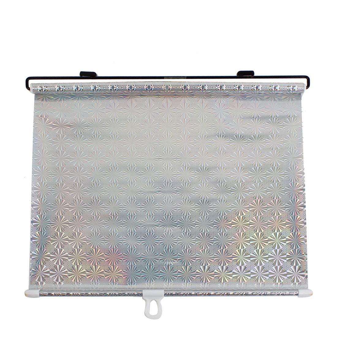 Car Vehicle Silver Tone Retractable Window Screen Sun Shade Guard 134cm x 42cm