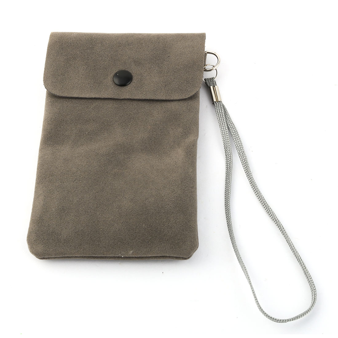Smart Phone Faux Leather Pocket Hand Bag Phone Pouch Case Dark Gray w Lanyard