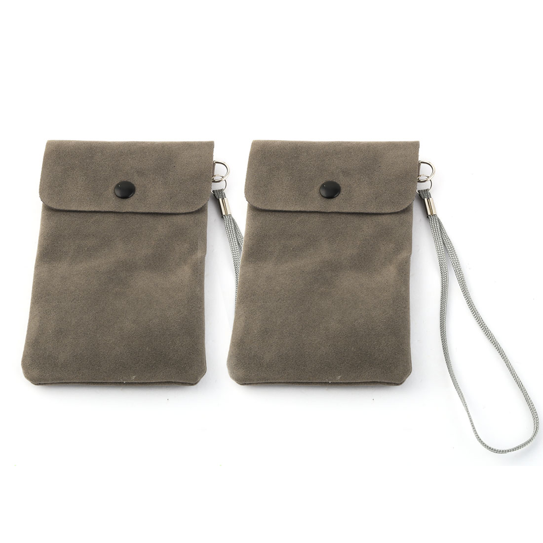 Phone Faux Leather Pocket Bag Phone Pouch Case Holder Dark Gray w Lanyard 2pcs