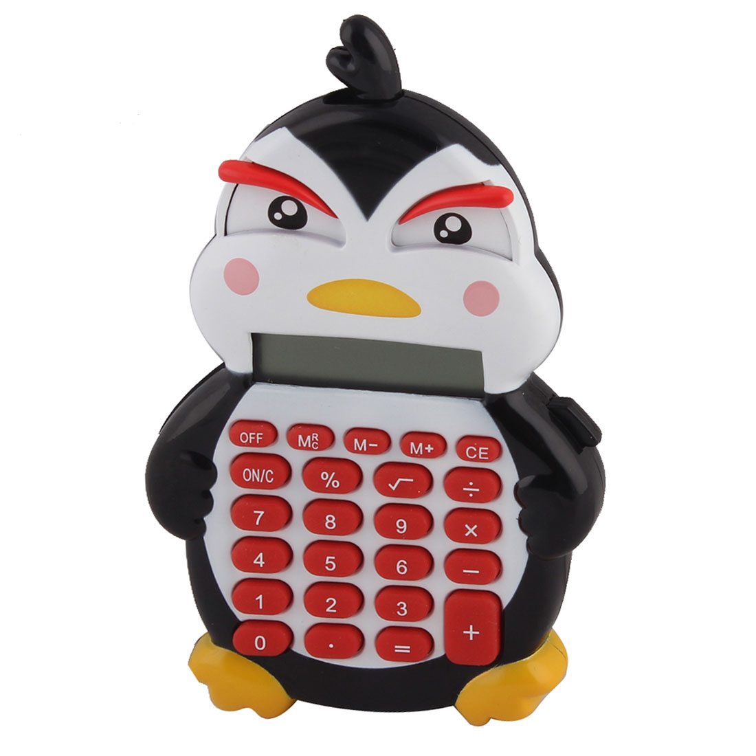 Plastic Penguin Shape 24 Keypads Hand Electronic Calculator White Red