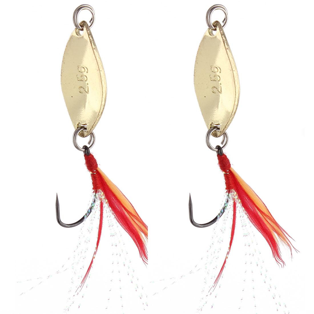 Fishing Fish Metal Angling Reflective Barb Lure Hooks Gold Tone 2 Pcs