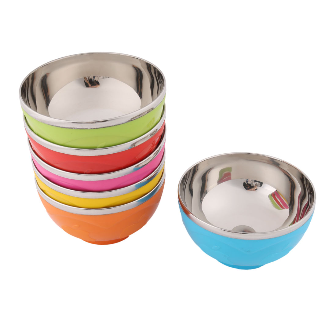 Household Stainless Steel Apple Pattern Rice Soup Bowl Assorted Color 15cm Diameter 6 Pcs