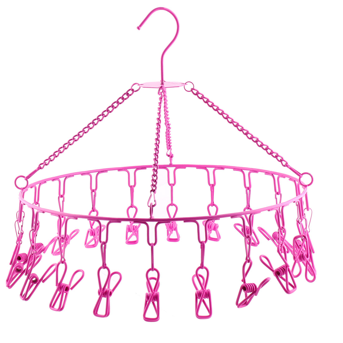 Home Plastic Coat Stainless Steel 20 Pegs Laundry Clothespins Clothes Hanger Fuchsia