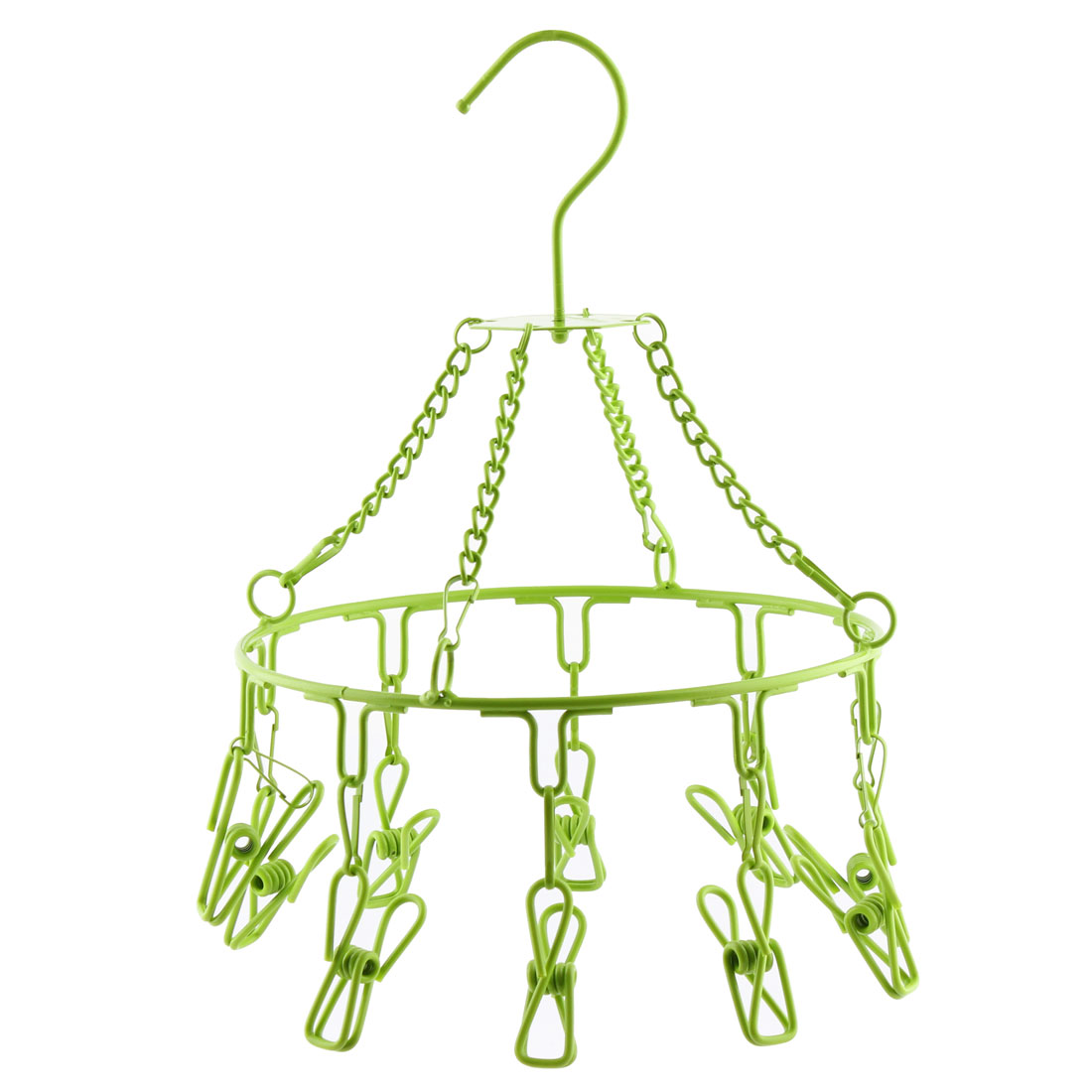 Home Plastic Coat Stainless Steel 10 Pegs Drying Rack Clothes Hanger Pale Green