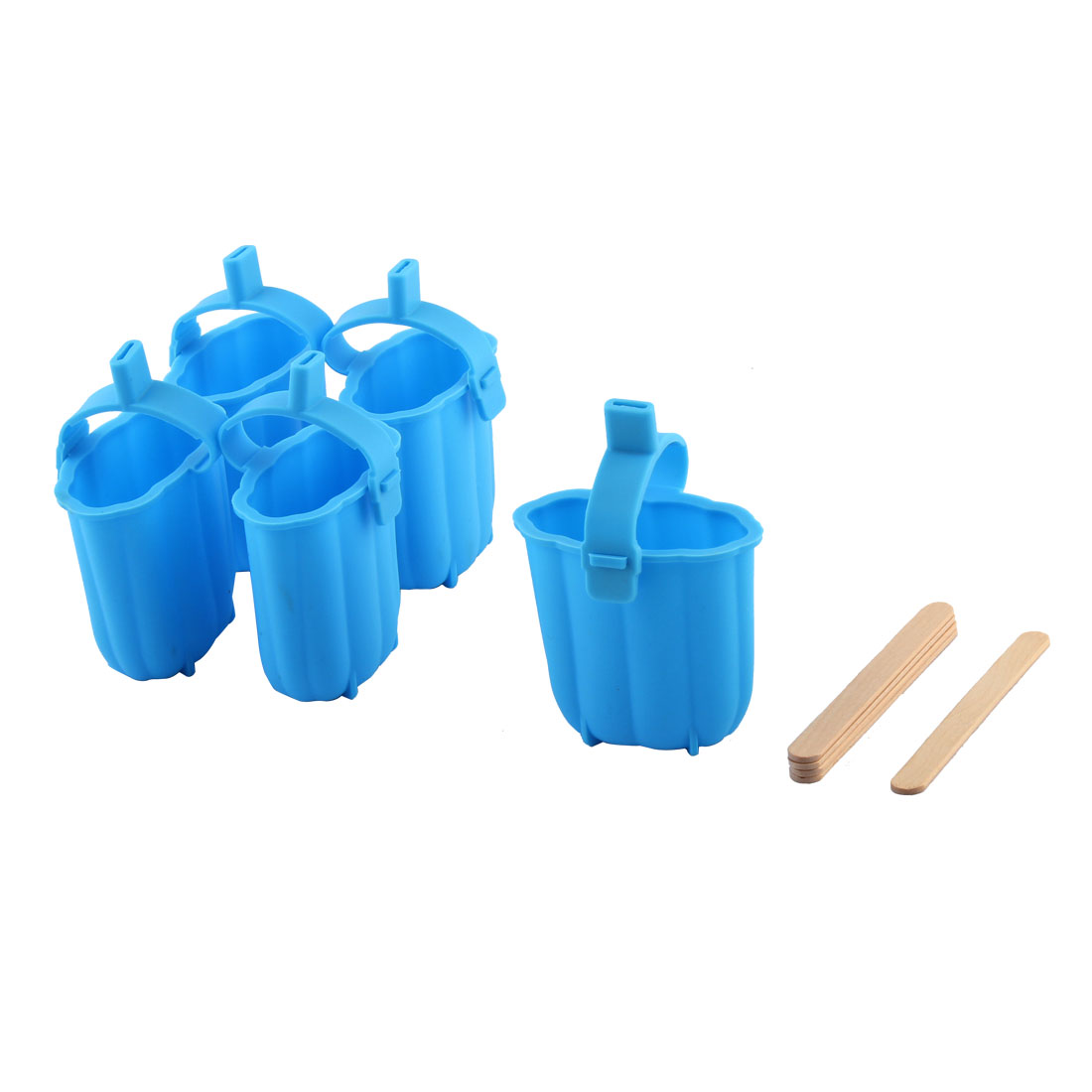 Household Kitchenware Silicone Candy Ice Lolly DIY Frozen Mould Blue 5pcs