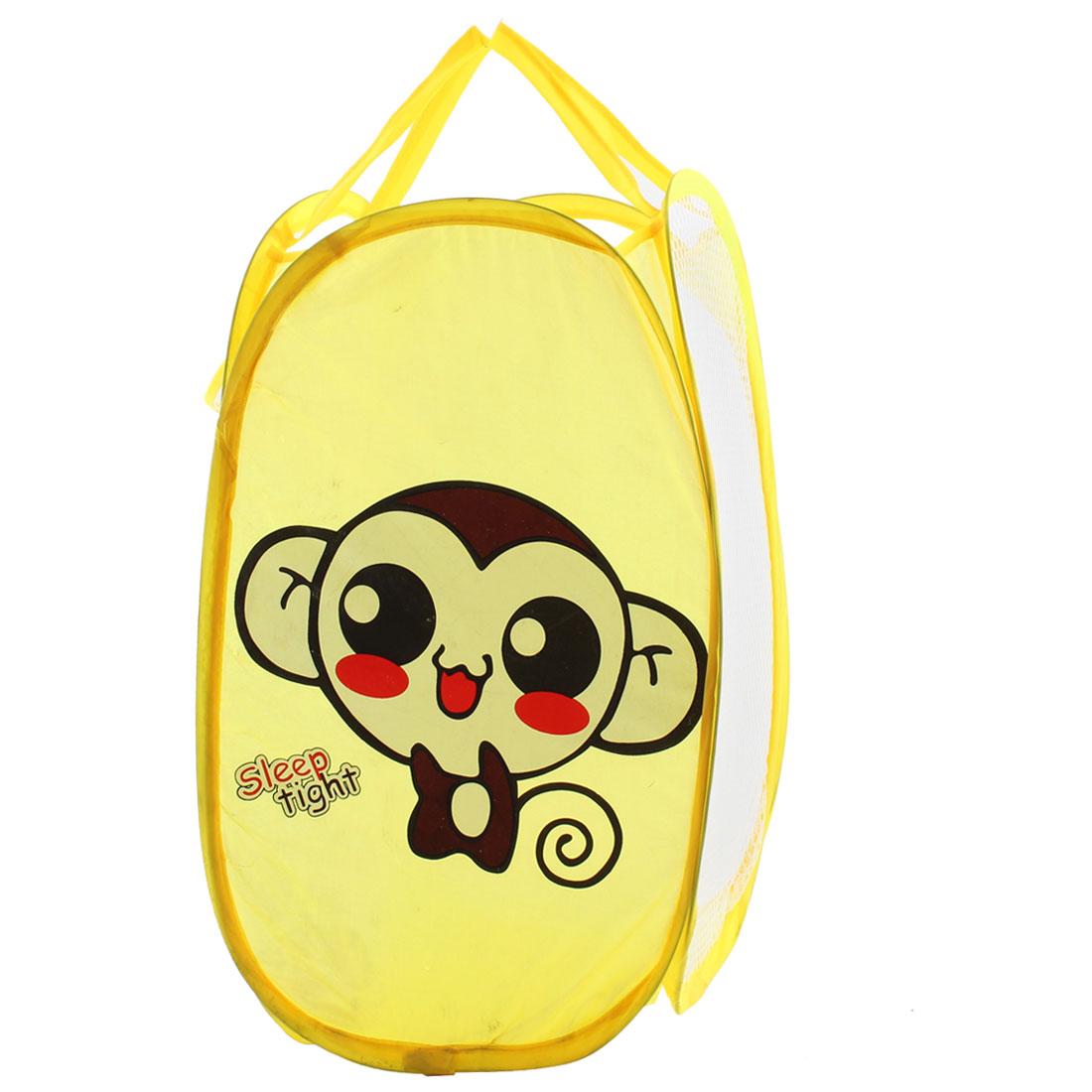 Portable Monkey Pattern Folding Pop up Laundry Mesh Washing Basket Storage Bag Case
