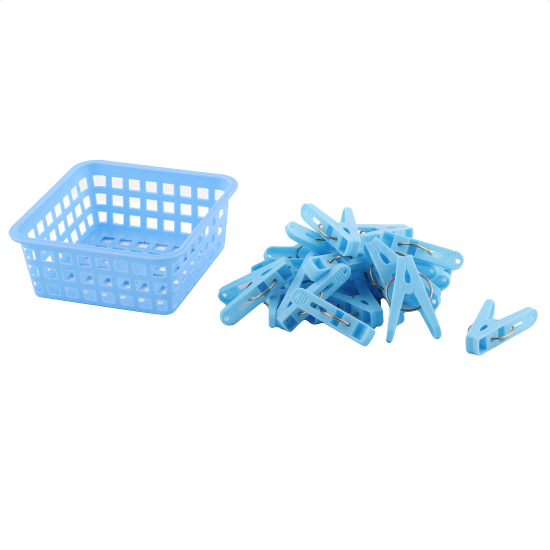Home Clothes Hanging Pegs Clothespins Hanger Clips Blue 20pcs w Storage Basket