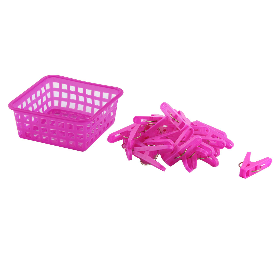Home Clothes Hanging Pegs Clothespins Hanger Clips Fuchsia 20pcs w Storage Basket