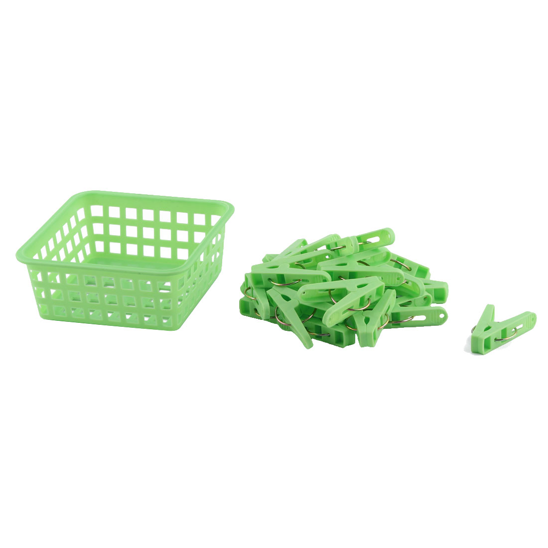 Home Clothes Hanging Pegs Clothespins Hanger Clips Green 20pcs w Storage Basket