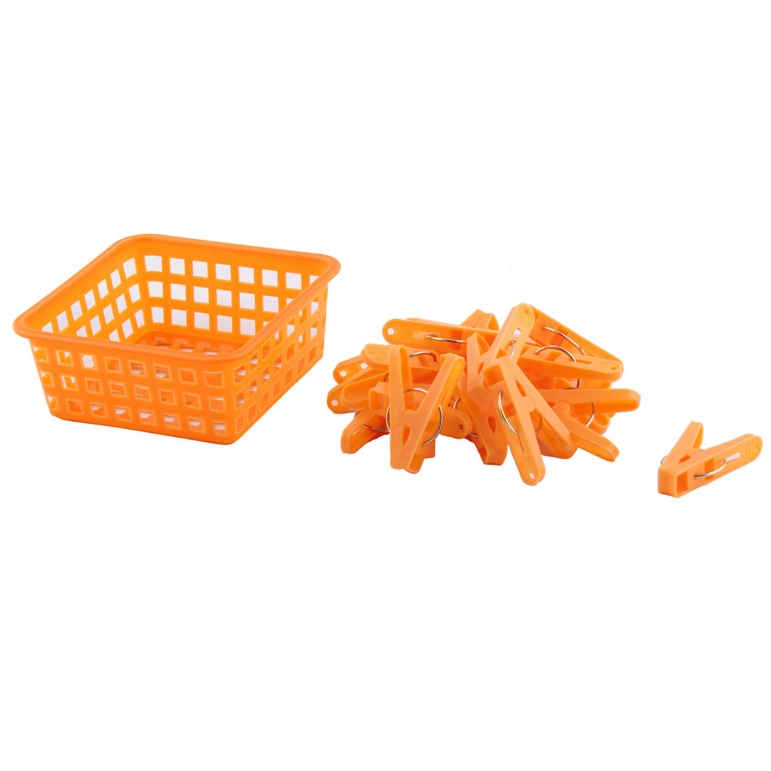 Home Clothes Hanging Pegs Clothespins Hanger Clips Orange 20pcs w Storage Basket