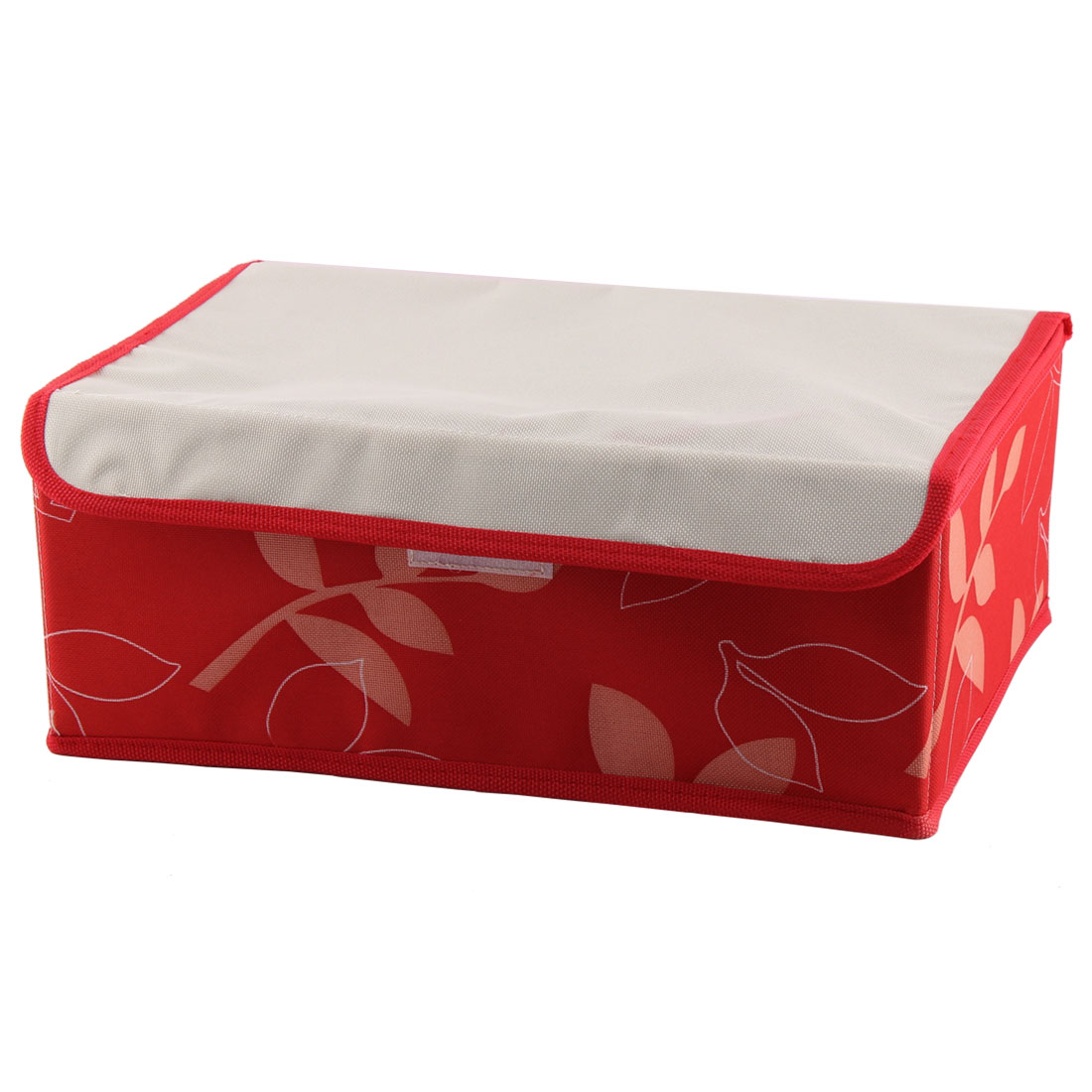 Bra Underwear Socks Floral Pattern 8 Compartments Foldable Storage Box Red Beige