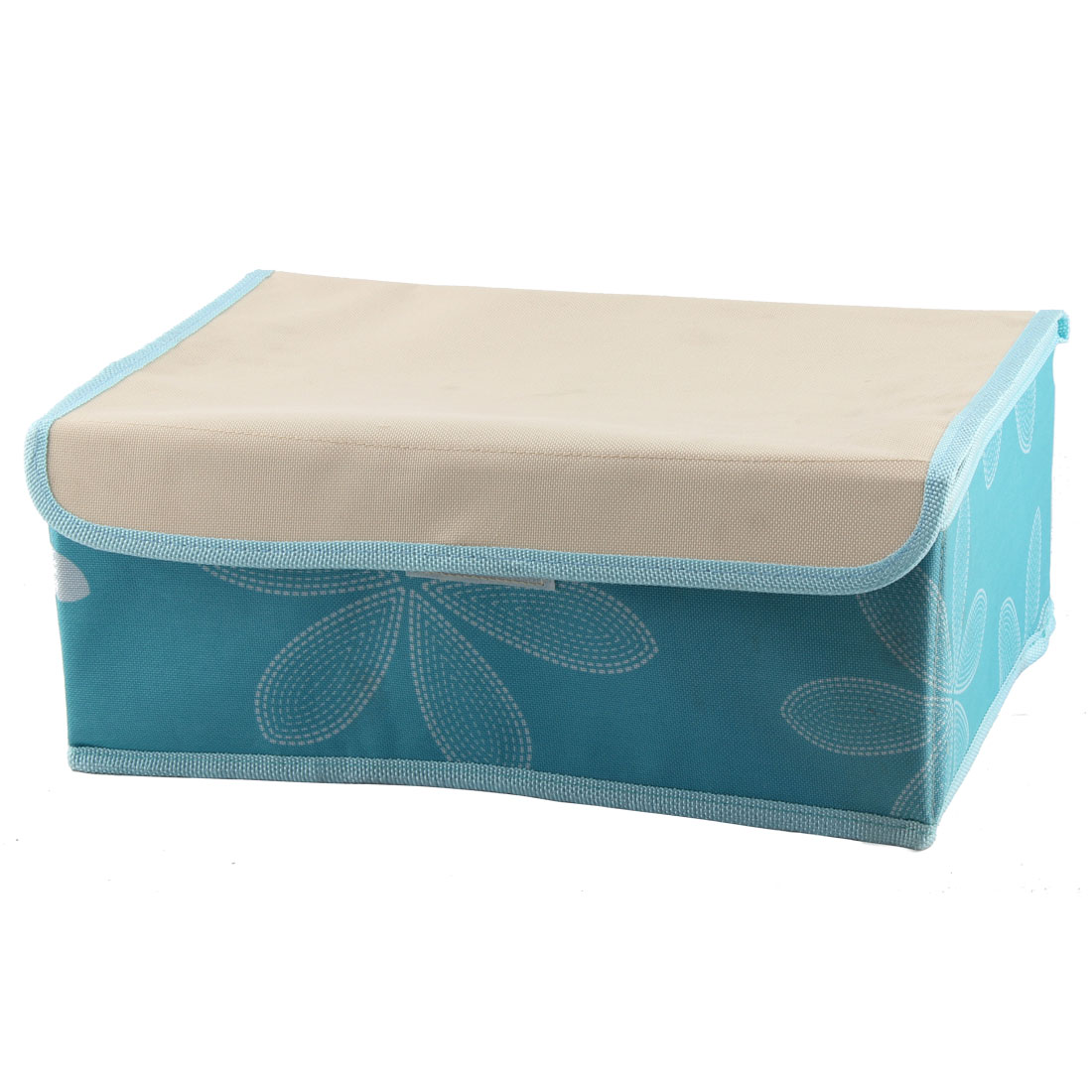 Bra Underwear Floral Pattern 8 Compartments Foldable Storage Box Sky Blue Beige