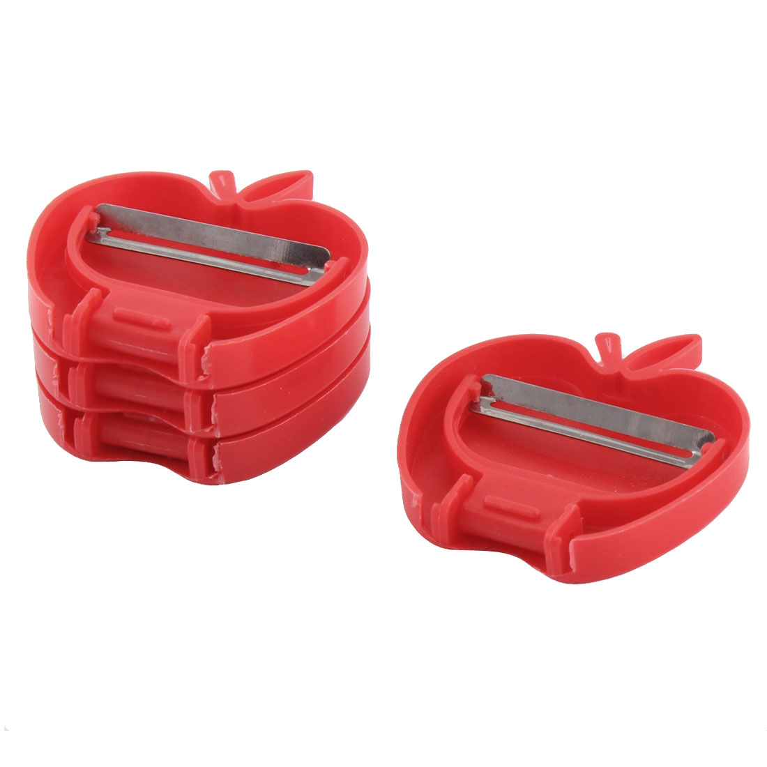 Kitchen Plastic Handle Apple Shaped Foldable Fruit Vegetable Peeler Red 4pcs