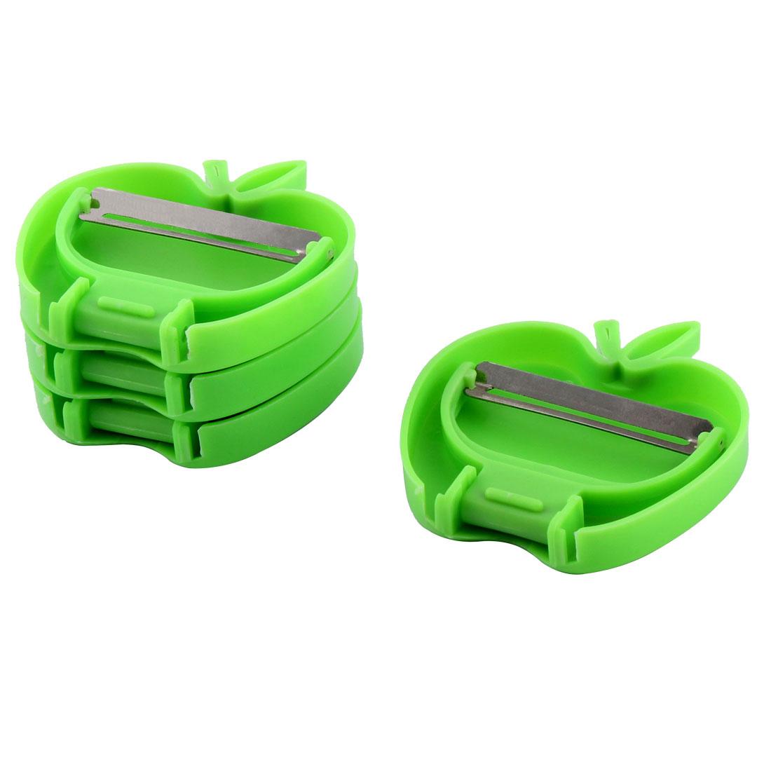 Home Kitchen Plastic Apple Shaped Foldable Fruit Vegetable Peeler Green 4pcs