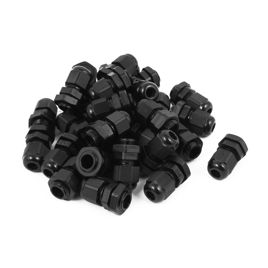 PG7 Waterproof IP68 Safety Nylon Cable Gland Connector Joints Black 30pcs