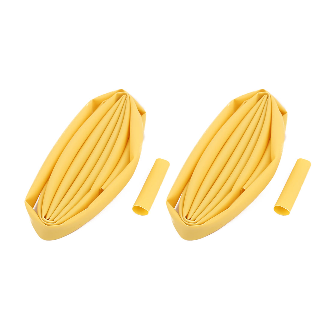 2Pcs 6mm Dia 2:1 Shrink Ratio Shrinkable Tube Heat Shrink Tubing Tube Sleeving Yellow 1M Length