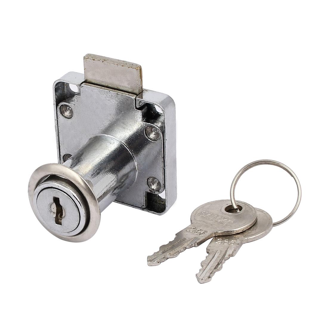 40mmx40mmx37mm Metal Square Base Drawer Lock Locker Silver Tone w Keys
