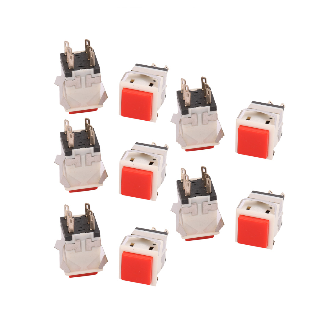 10Pcs 5A/AC250V Mini Square Push button Switch Momentary Type Red Plastic Head