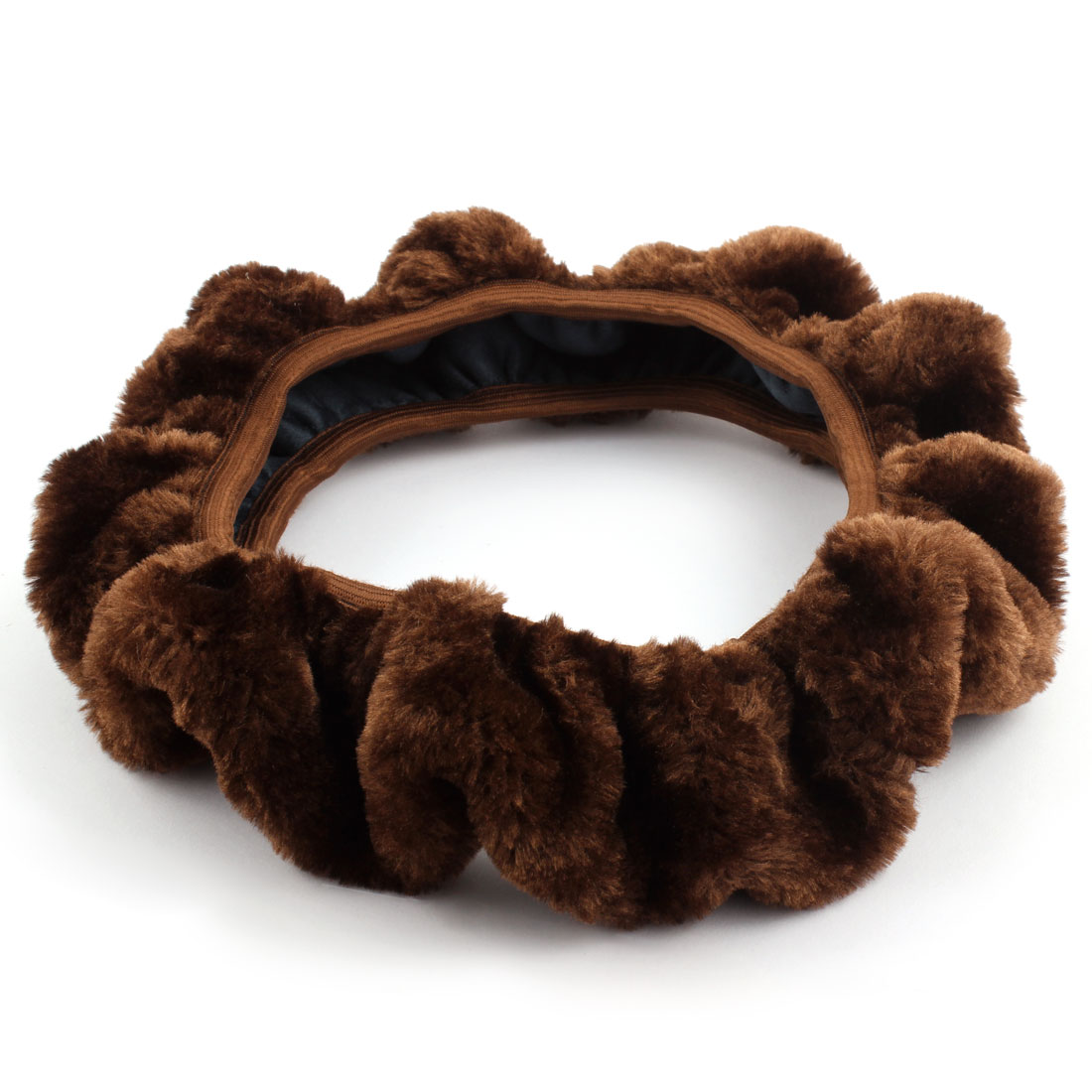 Auto Vehicle Plush Winter Flexible Stretch Steering Wheel Cover Protector Brown