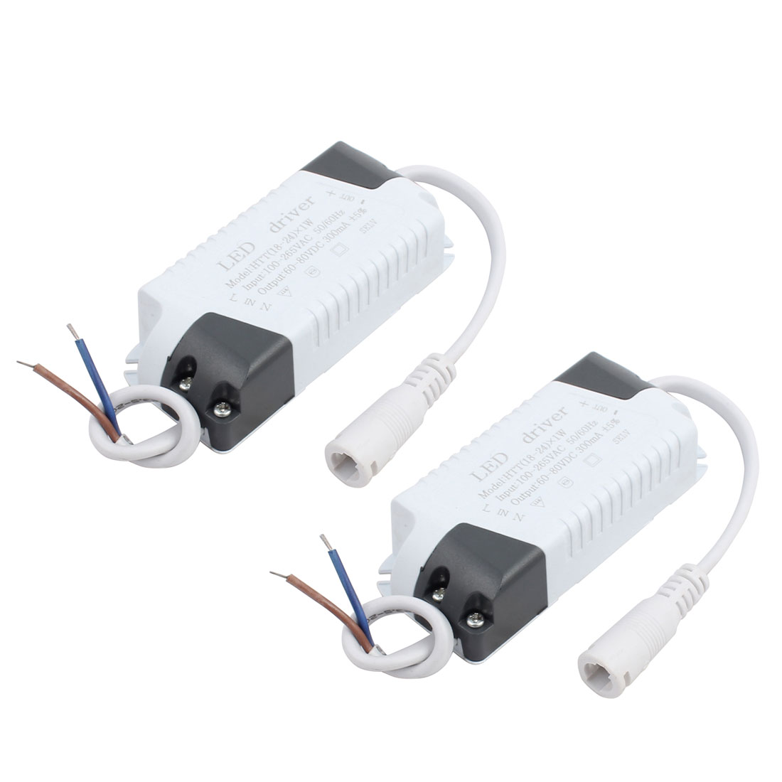 18-24W DC Female Connector Advanced Plastic Shell LED Driver Power Supply 2Pcs