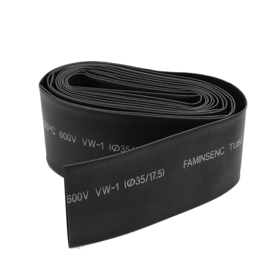 2.6M 125 Degree 35mm Dia Polyolefin Insulation Heat Shrinkable Tubing Tube Wrap Black