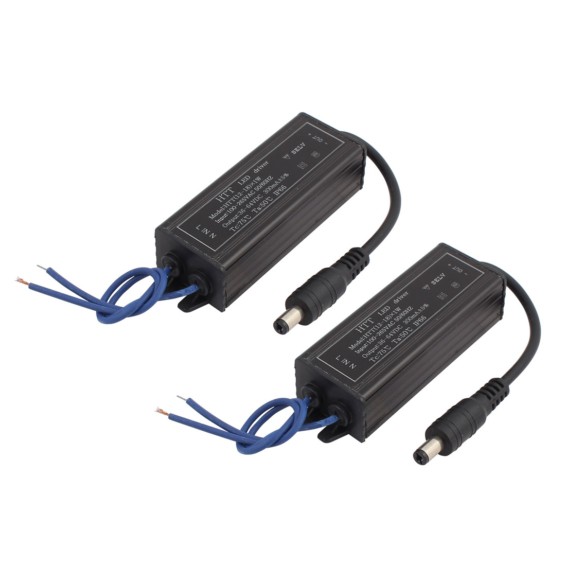 2Pcs AC100-265V to DC36-64V 12-18W Transformer IP66 Waterproof LED Driver Power Supply