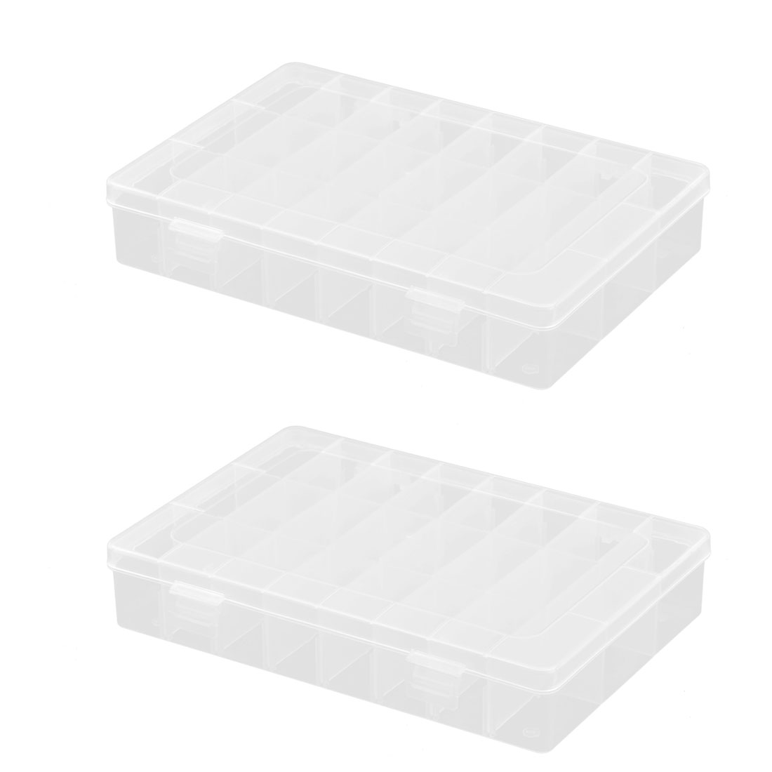 Working Accessory Plastic Jewelry Fish Hook Holder 36 Compartments Box 2 PCS