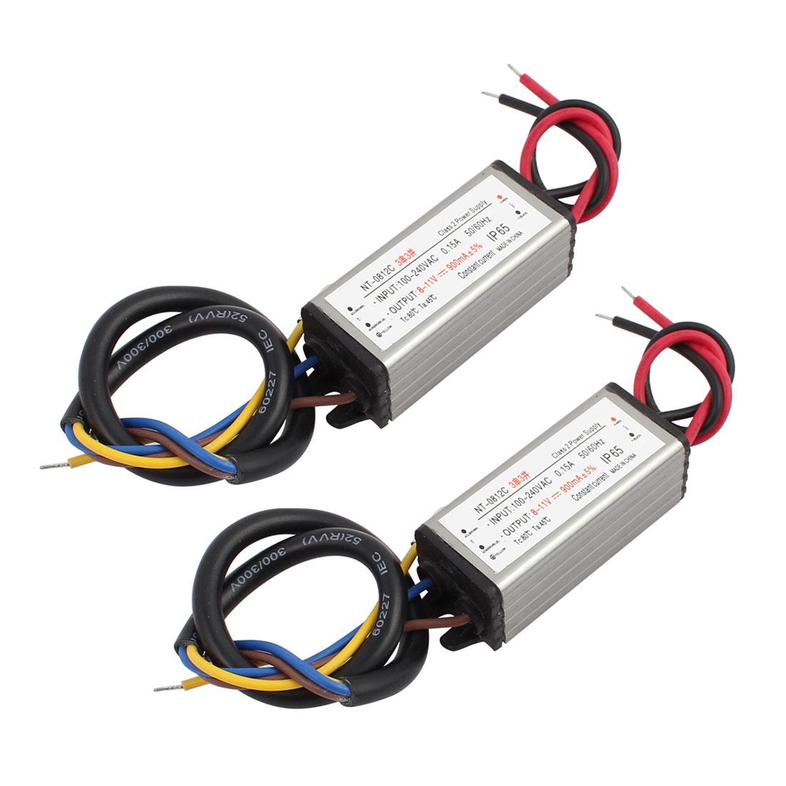 2Pcs AC100-240V to DC8-11V Transformer IP65 Waterproof LED Driver Power Supply
