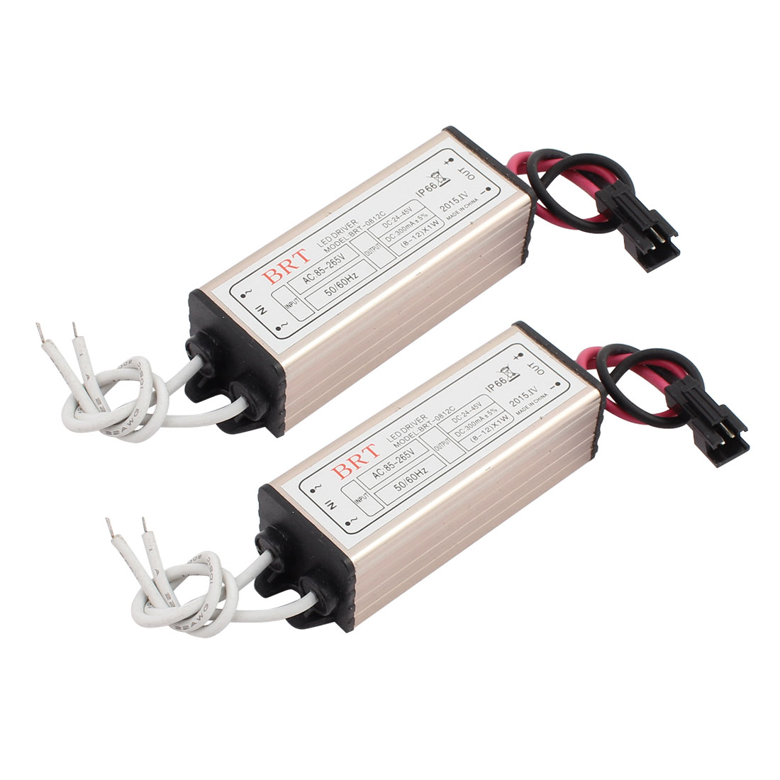 2Pcs AC85-265V to DC24-45V 300mA Transformer IP66 Waterproof LED Driver Power Supply