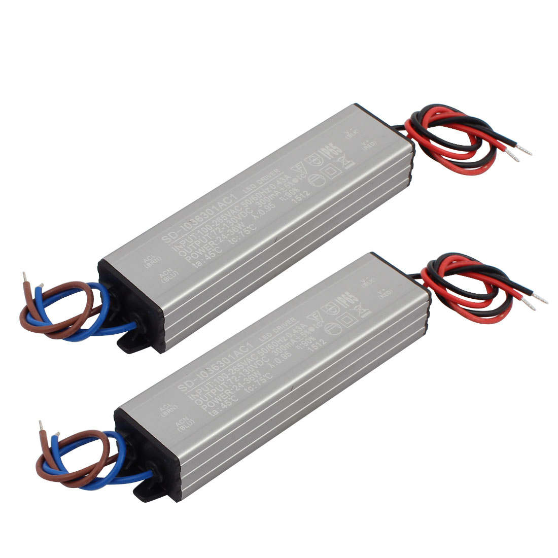 2Pcs AC100-265V to DC72-130V 24-36W Transformer IP65 Waterproof LED Driver Power Supply
