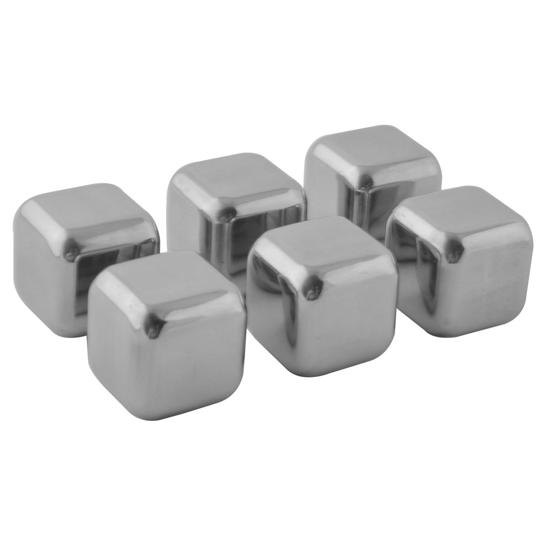 Bar Pub Vodka Beer Stainless Steel Square Shaped Whisky Cooling Stones Ice Cube 6 Pcs