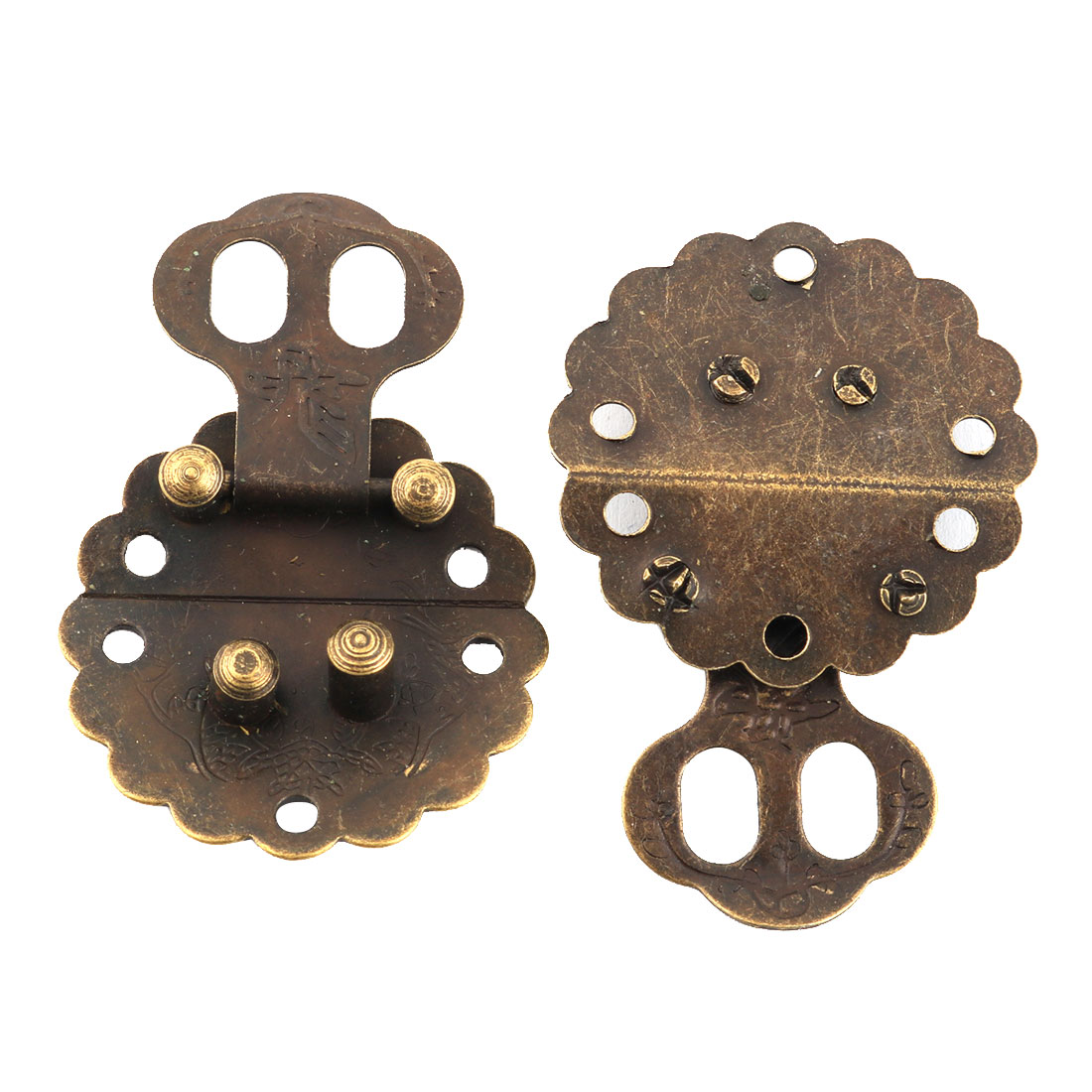 2pcs Vintage Style Gift Jewelry Wooden Box Hasp Latch Lock Buckle Decorative
