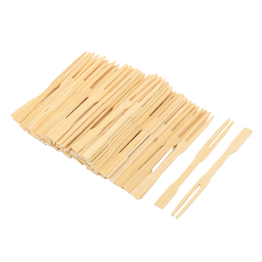 Home Bamboo Cocktail Forks Fruit Picks Skewers Sticks Beige 3.5 Inches Length 85pcs