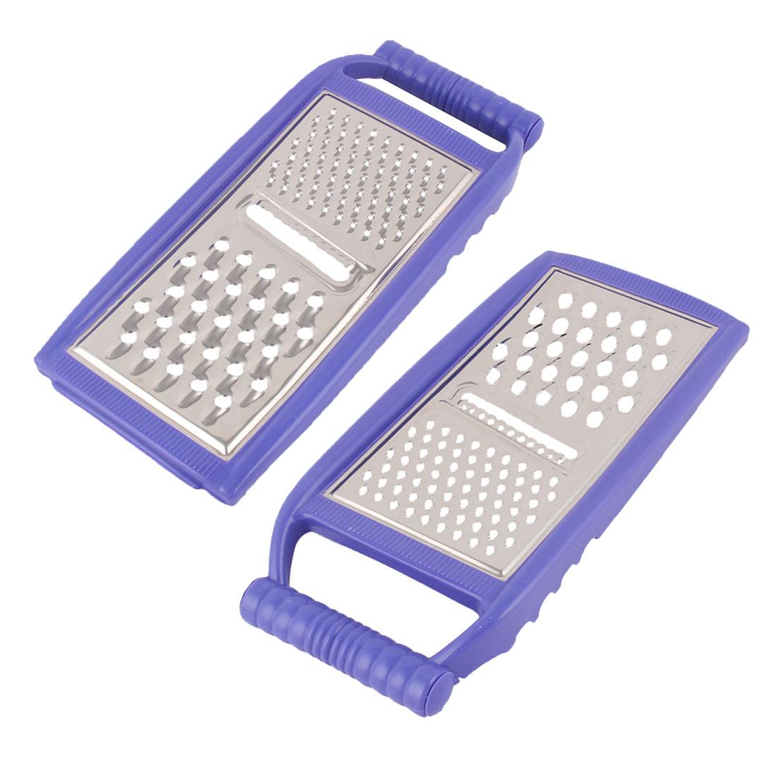 Kitchen Plastic Frame Radish Grater Peeler Cooking Tool Blue Silver Tone 2pcs