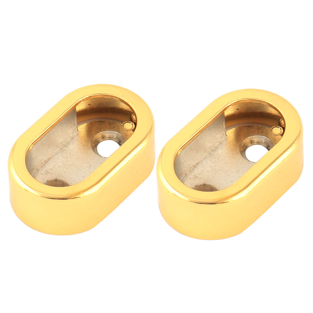 Home Metal Garment Clothes Closet Rod Holder End Support Socket Bracket Gold Tone 2pcs