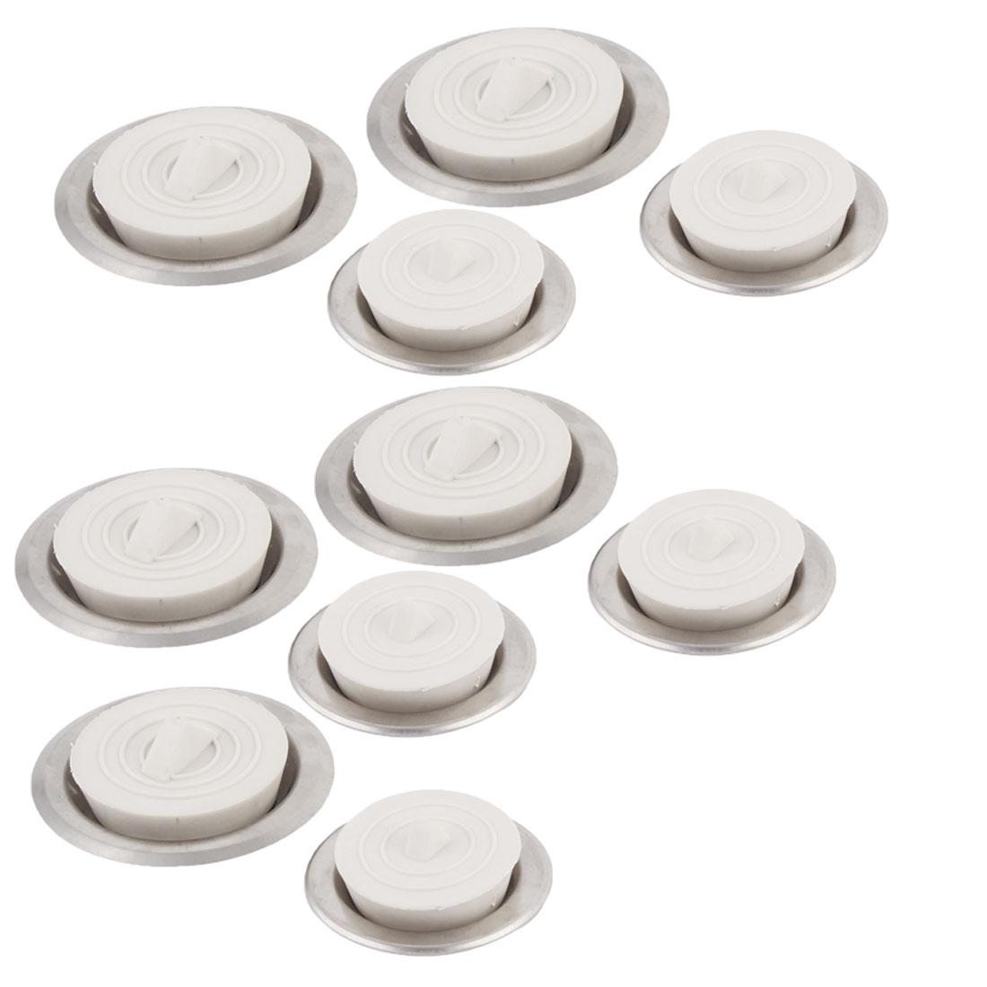 Kitchen Bathroom Stainless Steel Water Sink Drainer Filter Strainer 10 Sets