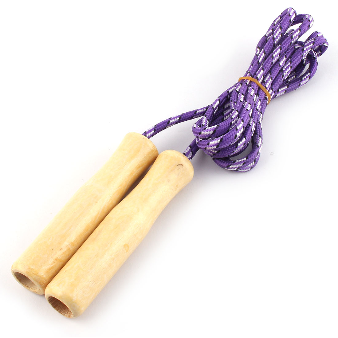Exercise Wooden Handle Skipping Jumping Rope Wood Color Purple 2.3 Meters Length