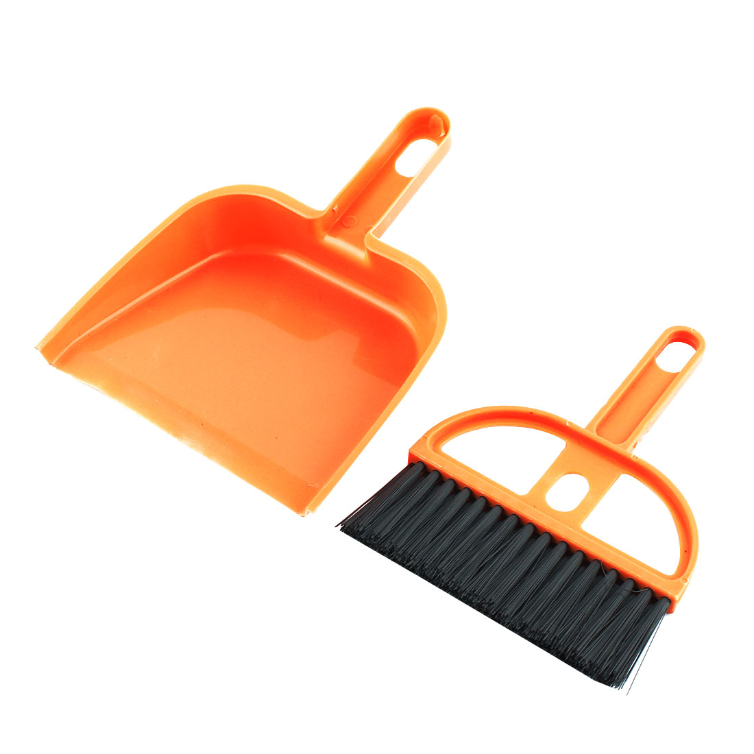 Home Plastic Computer Table Corner Cleaning Whisk Broom Dustpan Set Tool Orange