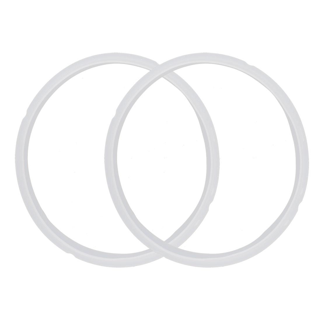 Kitchen Rubber Sealing Ring White 21cm Inner Dia 2pcs for 5-6L Cooker