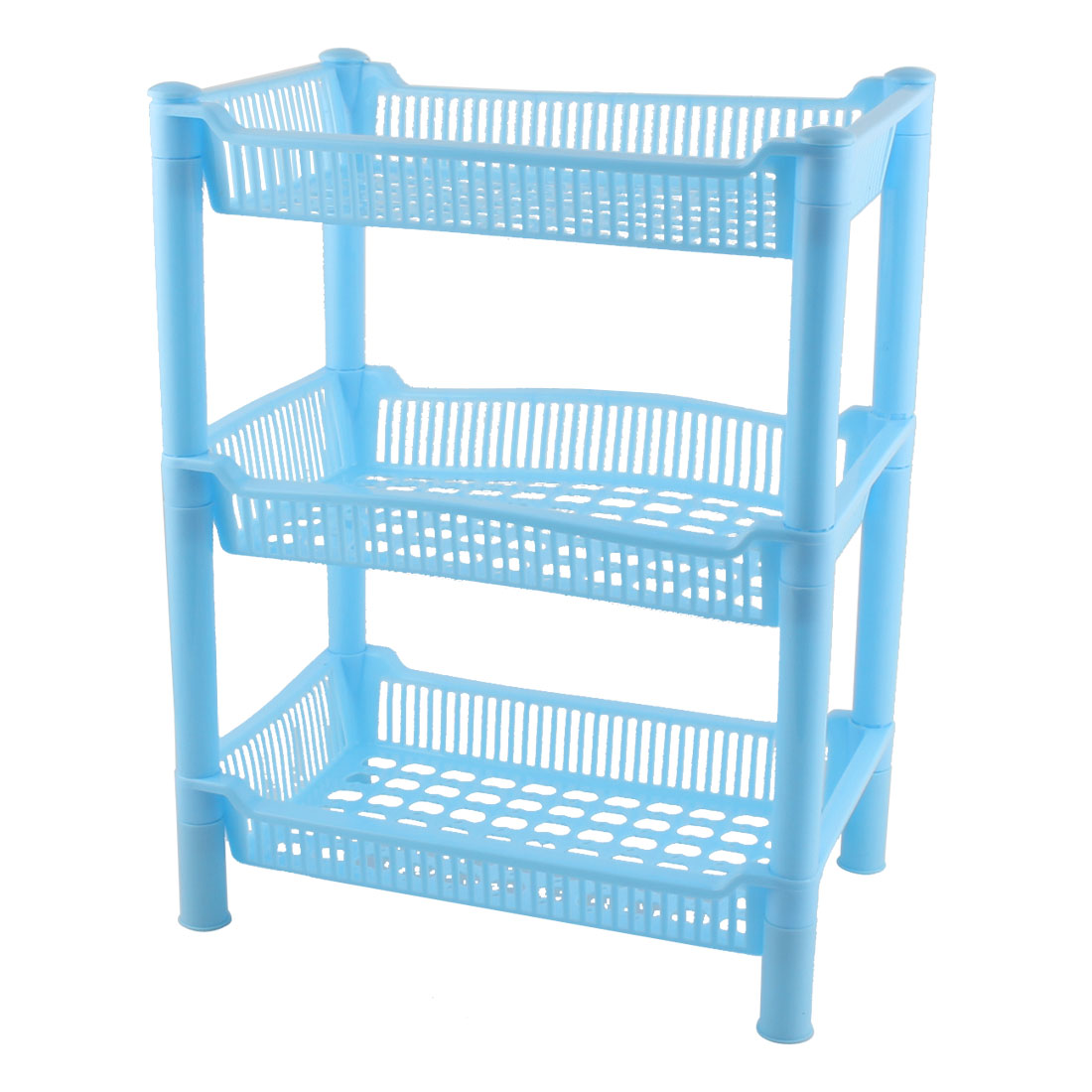 Household Bathroom Plastic Rectangular 3 Layers Storage Rack Organizer Blue