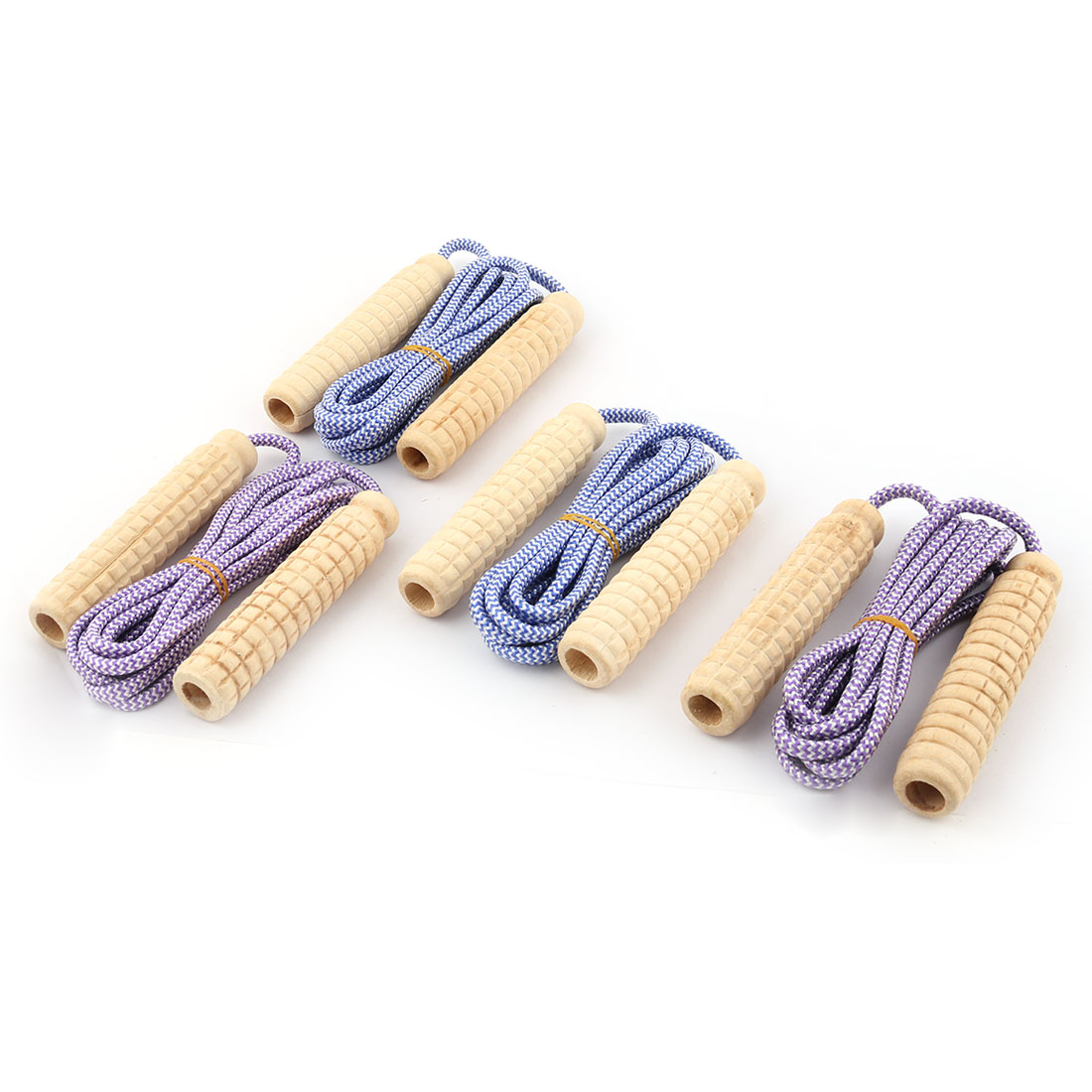 Cardio Fitness Wooden Handle Striped Elastic Excercise Jumping Rope Purple Blue 2.5m Long 4pcs
