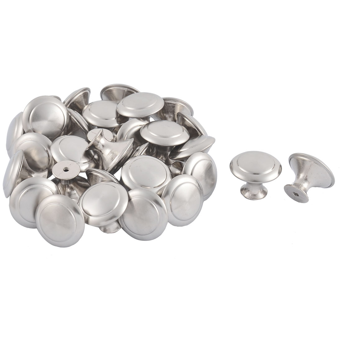 Furniture Closet Drawer Stainless Steel Pull Knob Handle Silver Tone 30 Pcs