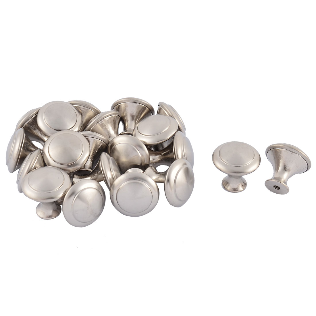 Furniture Cabinet Drawer Stainless Steel Pull Knob Handle Silver Tone 20 Pcs