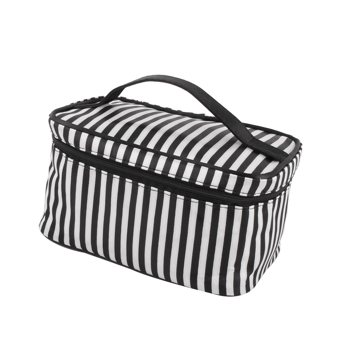 Ladies Outdoor Polyester Stripes Pattern Toiletry Makeup Portable Bag White Black