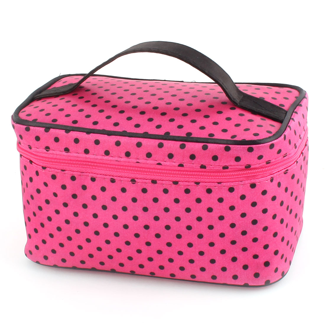 Ladies Outdoor Spotty Print Zippered Cosmetic Makeup Portable Bag Fuchsia Black