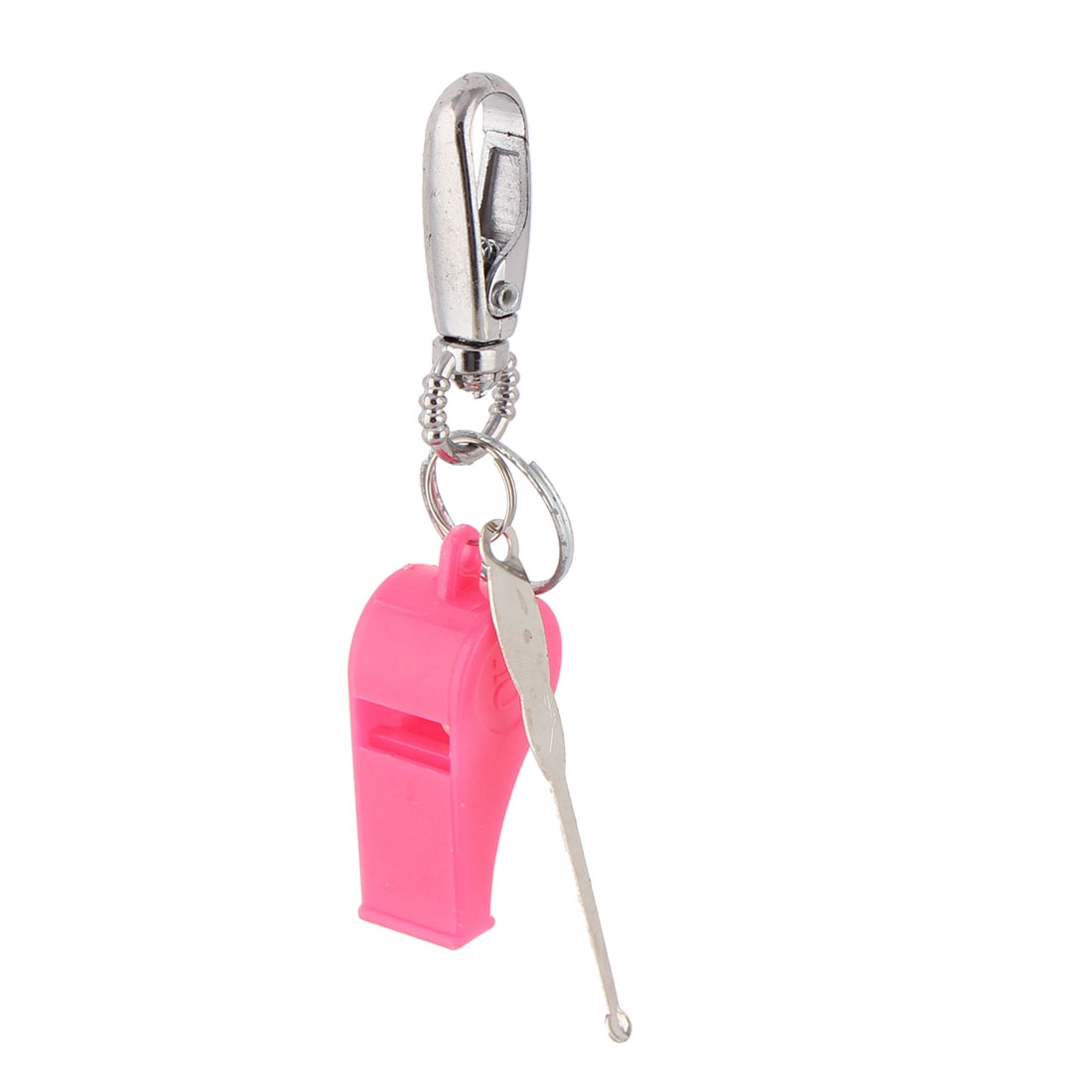 Household Travel Metal Earpick Whistle Pendant Hook Clasp Keyring Keychain Pink 3pcs