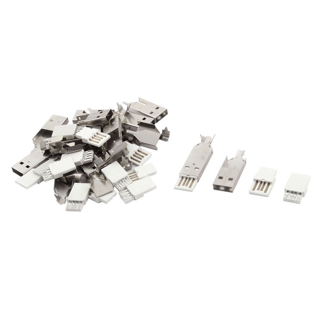 Type A USB Male Jack Connector Solder Adapter Metal Cover Repair Kit 15sets